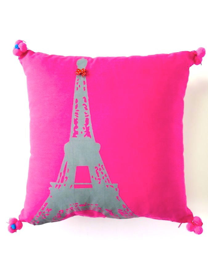 Pink or green Eiffel Tower print cushion