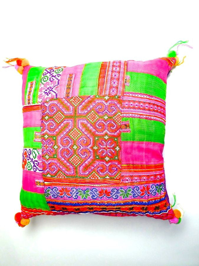 Pink/Green Vintage patchwork cushion