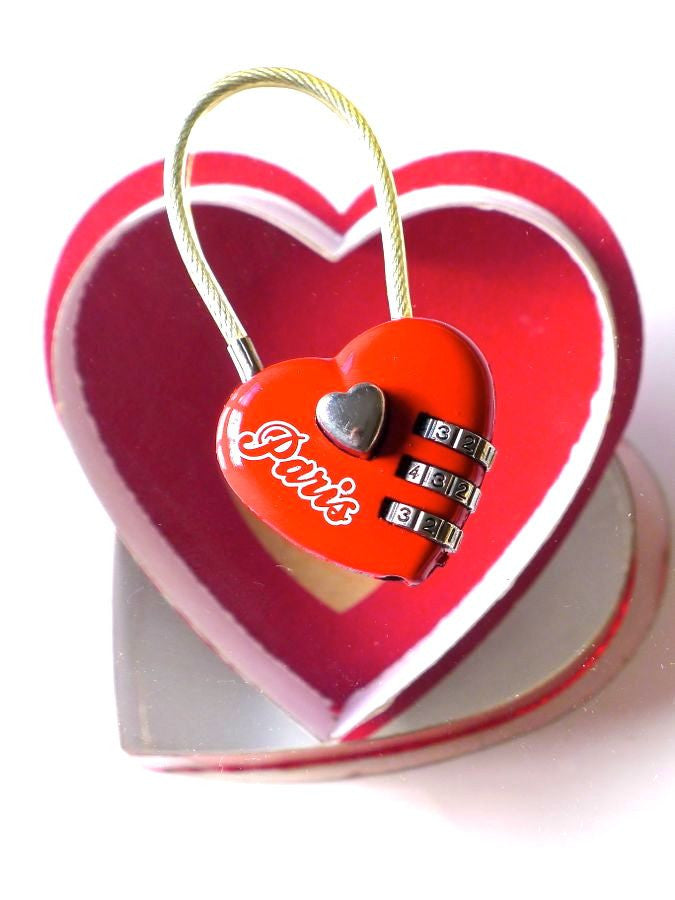 Love Forever Red heart combination padlock