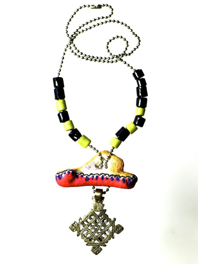 Red Yellow necklace cross