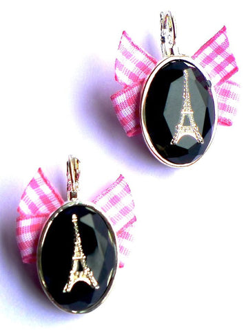 Pink and black Eiffel Tower earrings