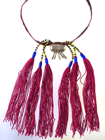 Pink Tassel Ethiopian Necklace