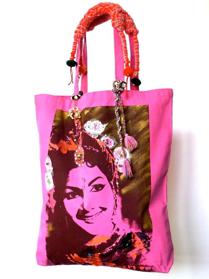 Pink Bollywood tote