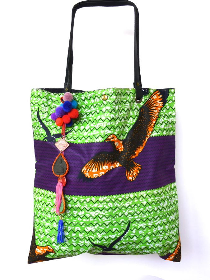 Green African Style Batik print bag with Thai detailing