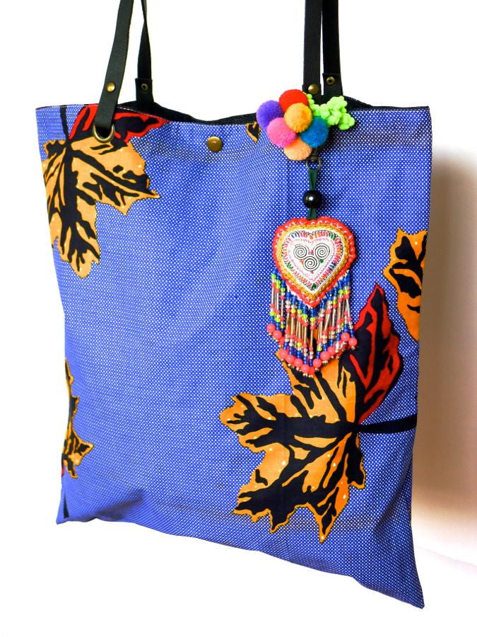 Blue African style Batik print bag with Thai detailing