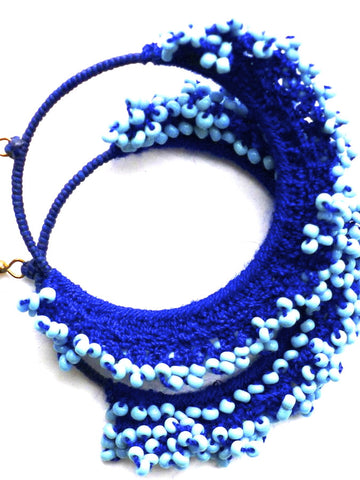 Blue crochet earrings