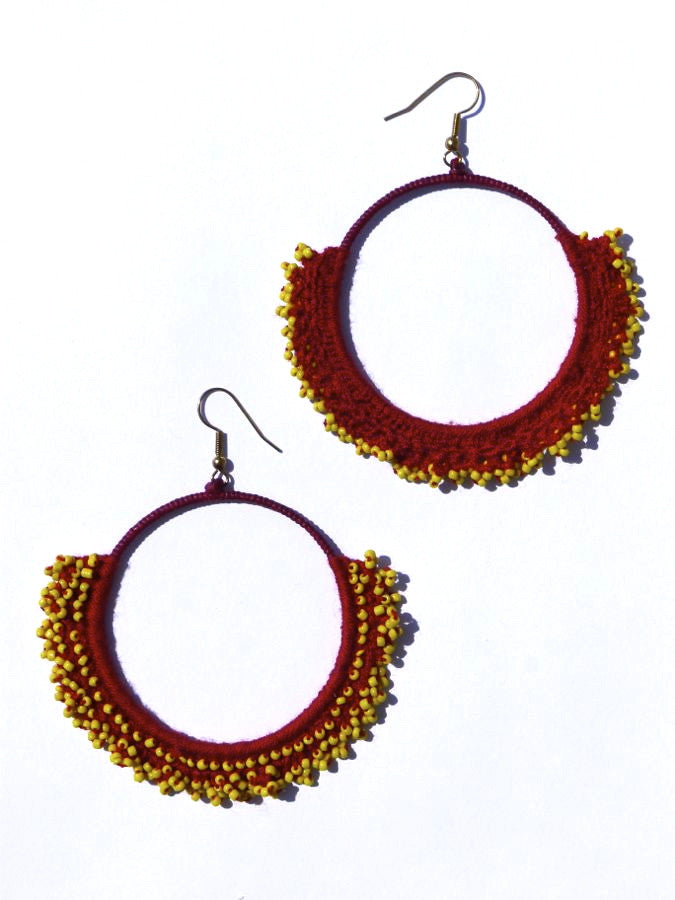 Brown/Yellow crochet earrings
