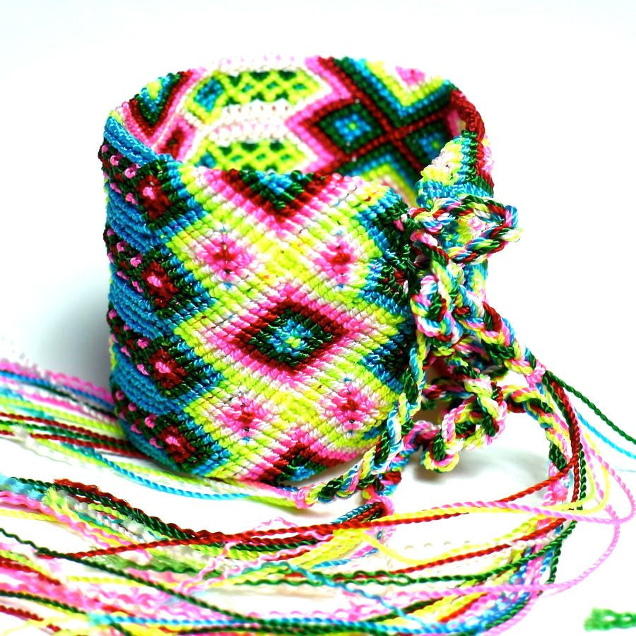 Multicolored woven cotton bracelets