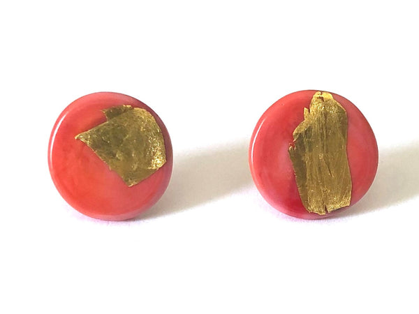 Glass and Gold Button Earrings