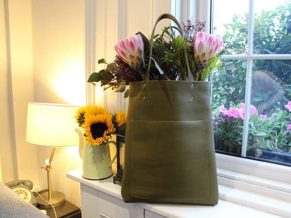 Leather Tote - Olive