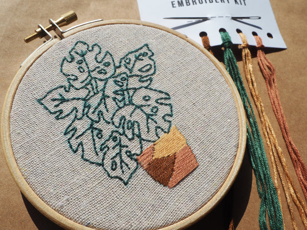 Monstera Plant Embroidery Kit