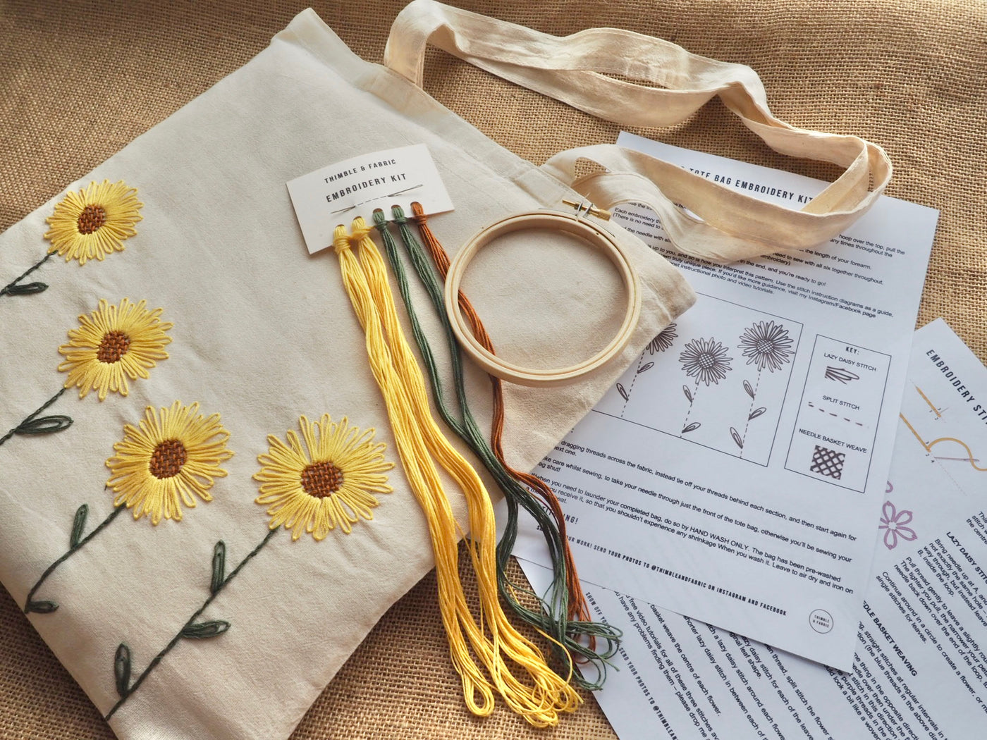 Sunflower Tote Bag Embroidery Kit