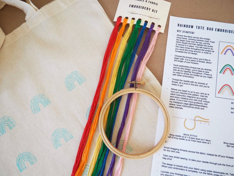 Rainbow Tote Bag Embroidery Kit
