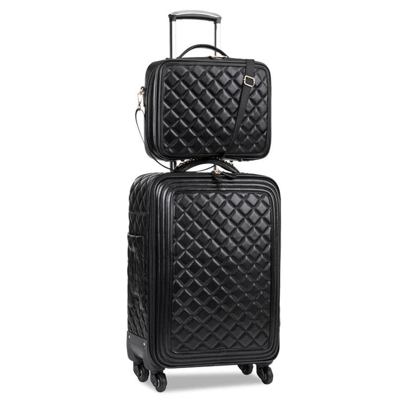 CHUPEMORE Retro Brand PU Leather Rolling Luggage Set