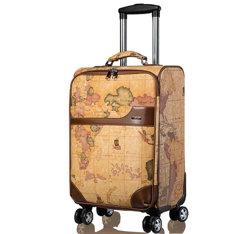 Chupermore Retro Map PU Leather Rolling Luggage