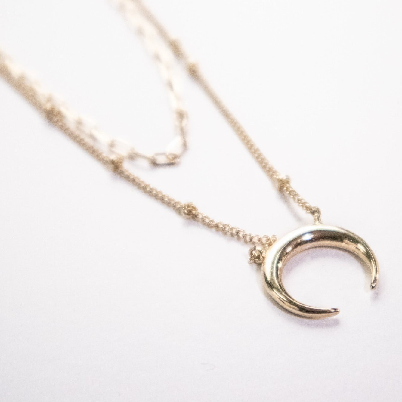Crescent Moon Double Layered Necklace