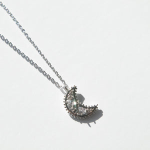 Rhodium Dipped Jeweled Crescent Moon Necklace