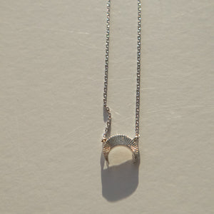 Silver Plated Ribbed Crescent Necklace