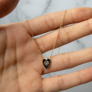 Black Heart Shaped Evil Eye Pendant Necklace