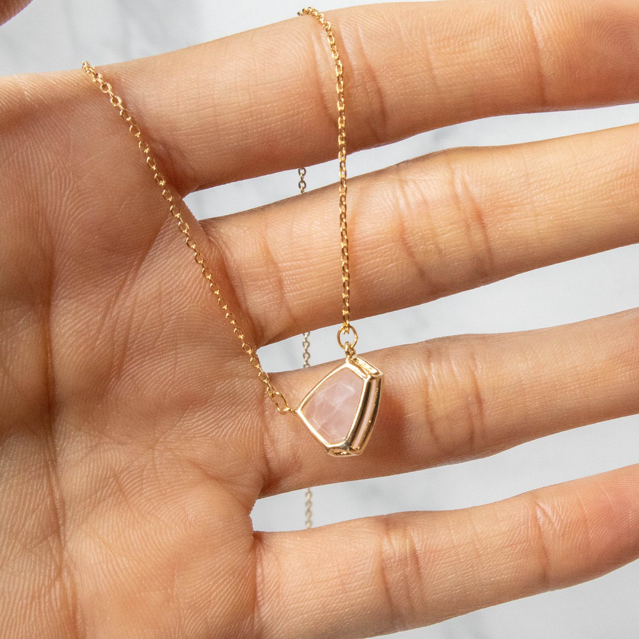 Rose Quartz Geometric Pendant Necklace