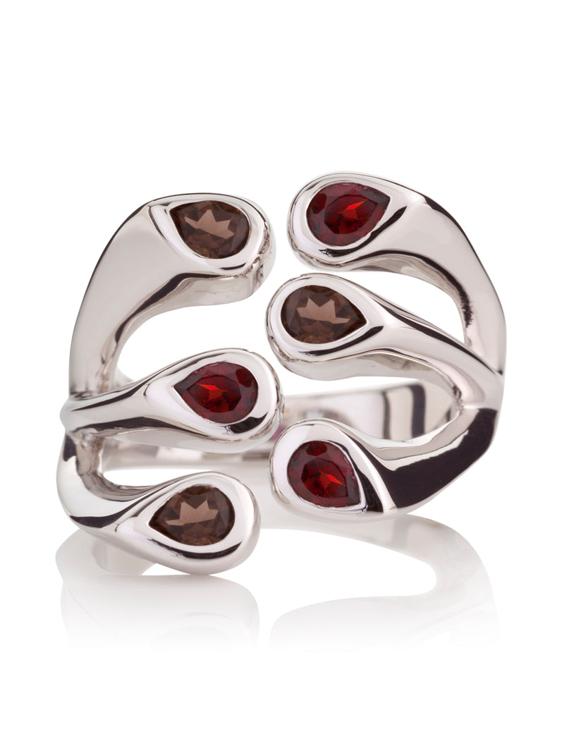 Embrace Silver Ring With Garnet and  Smoky Quartz