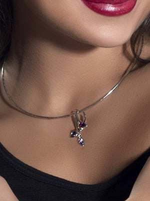 Kazo Silver Pendant With Amethyst, Rhodolite and Iolite