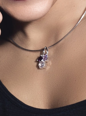 Kintana Silver Pendant With Green Amethyst, Amethyst and Smoky Quartz