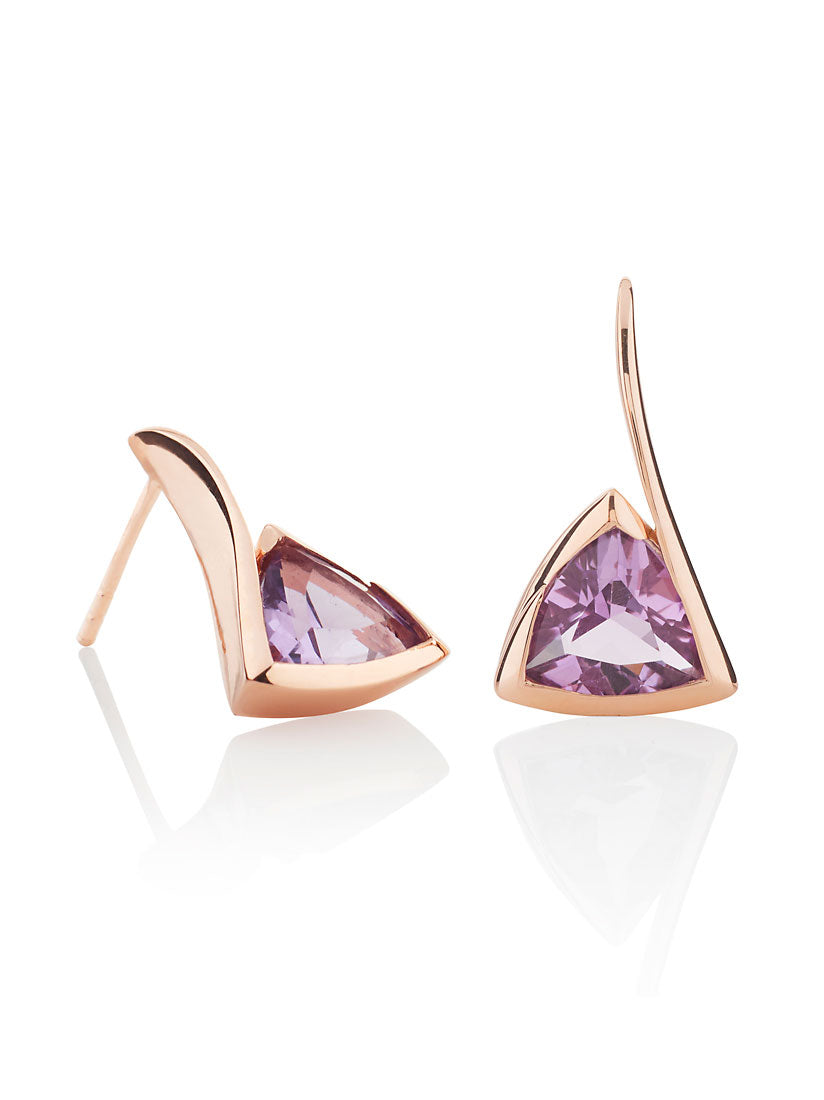 Amore Rose Gold  Earrings with Amethyst