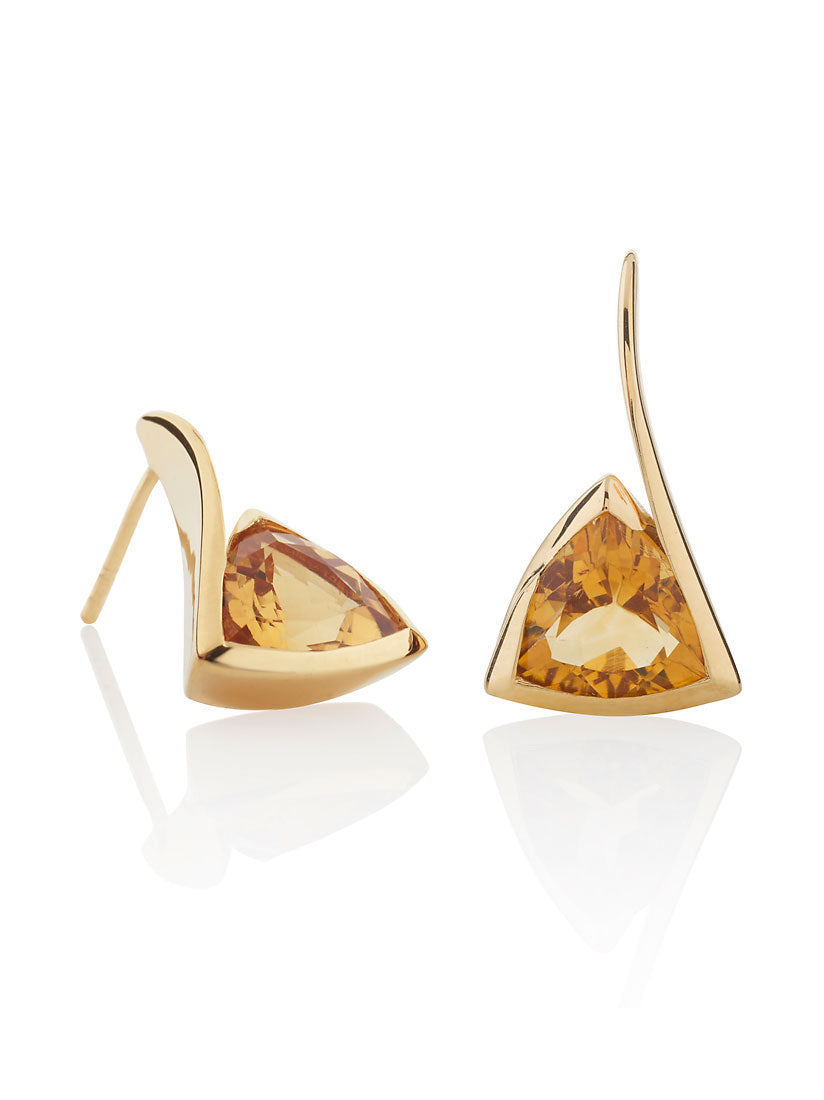 Amore Gold  Earrings with Citrine