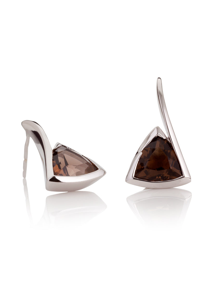 Amore Silver  Earrings with Smoky Quartz