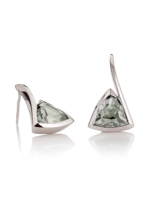 Amore Silver  Earrings with Green Amethyst