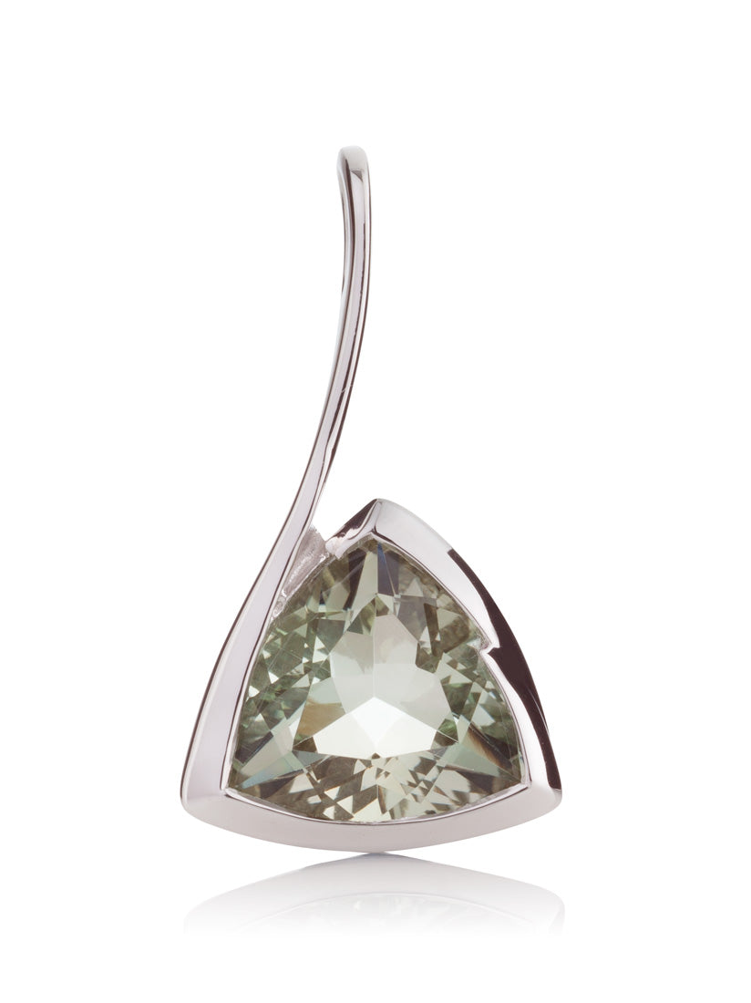 Amore Silver Pendant with Green Amethyst