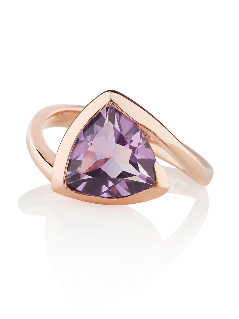 Amore Rose Gold Ring With Amethyst