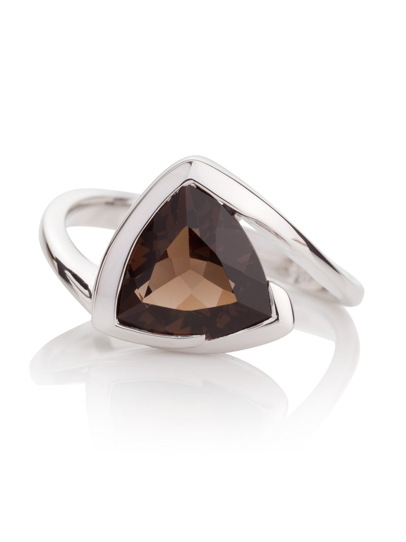Amore Silver Ring with Smoky Quartz