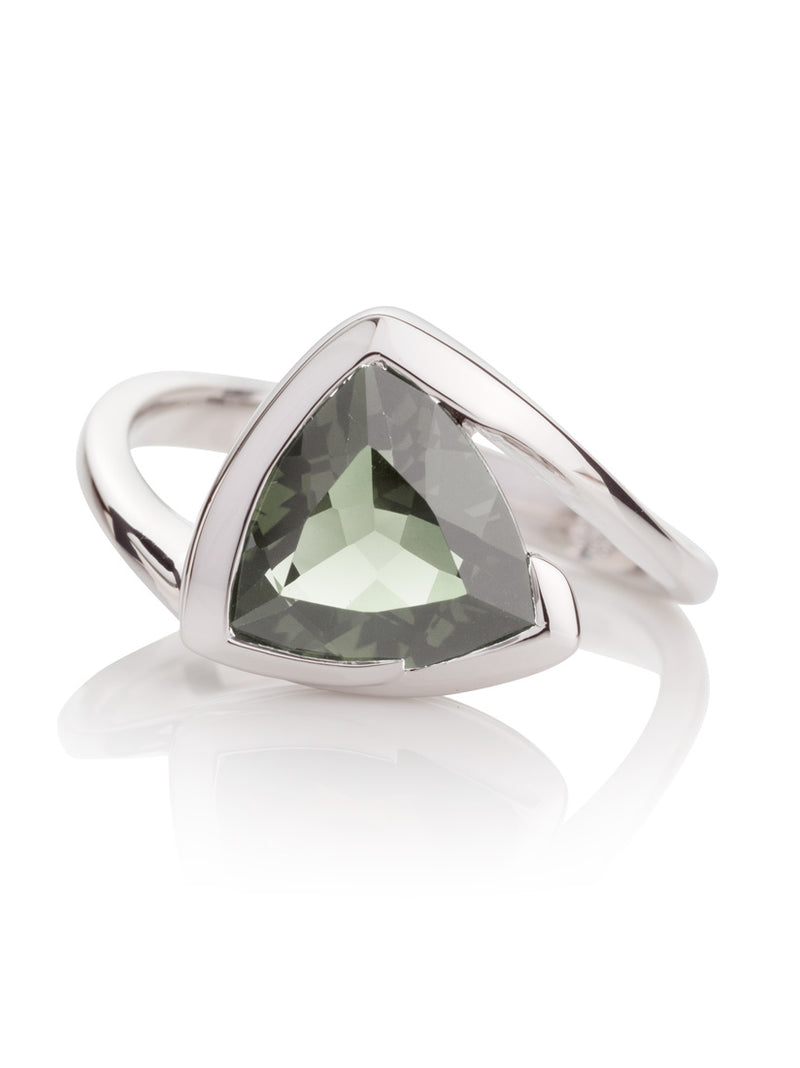 Amore Silver Ring with Green Amethyst