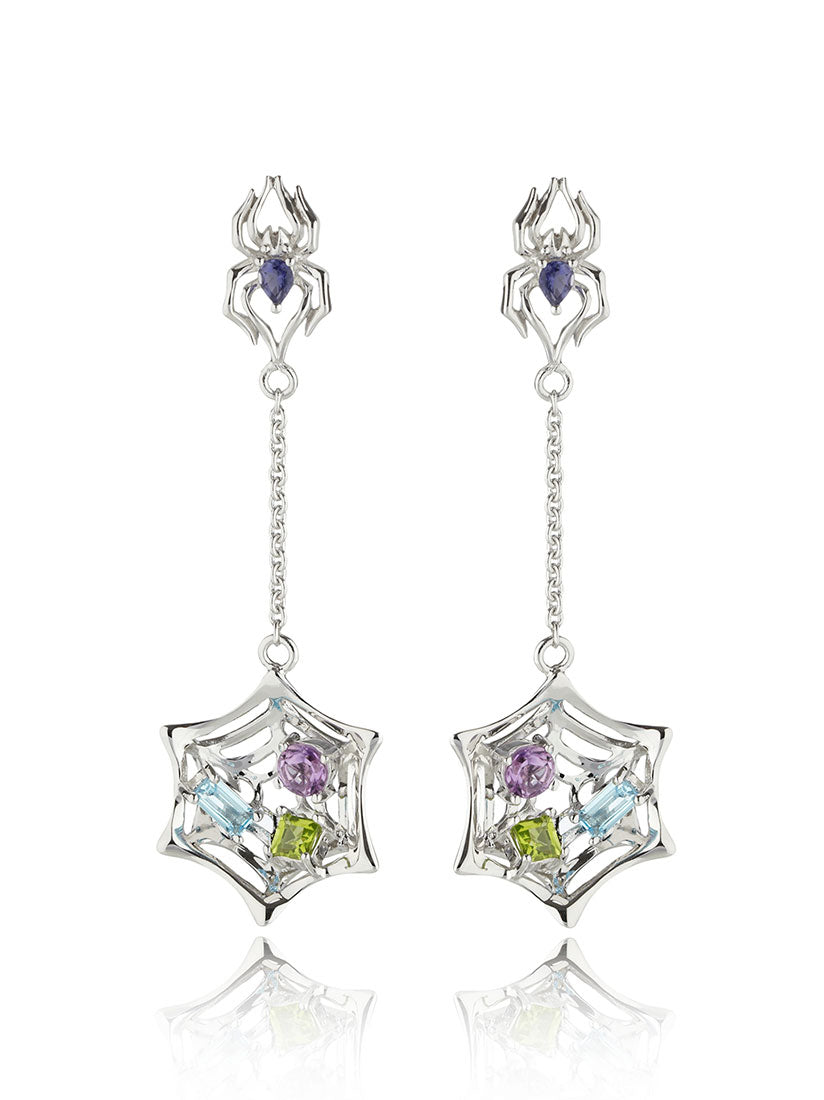 Anansi Rhodium Earrings With Iolite, Blue Topaz, Amethyst and Peridot