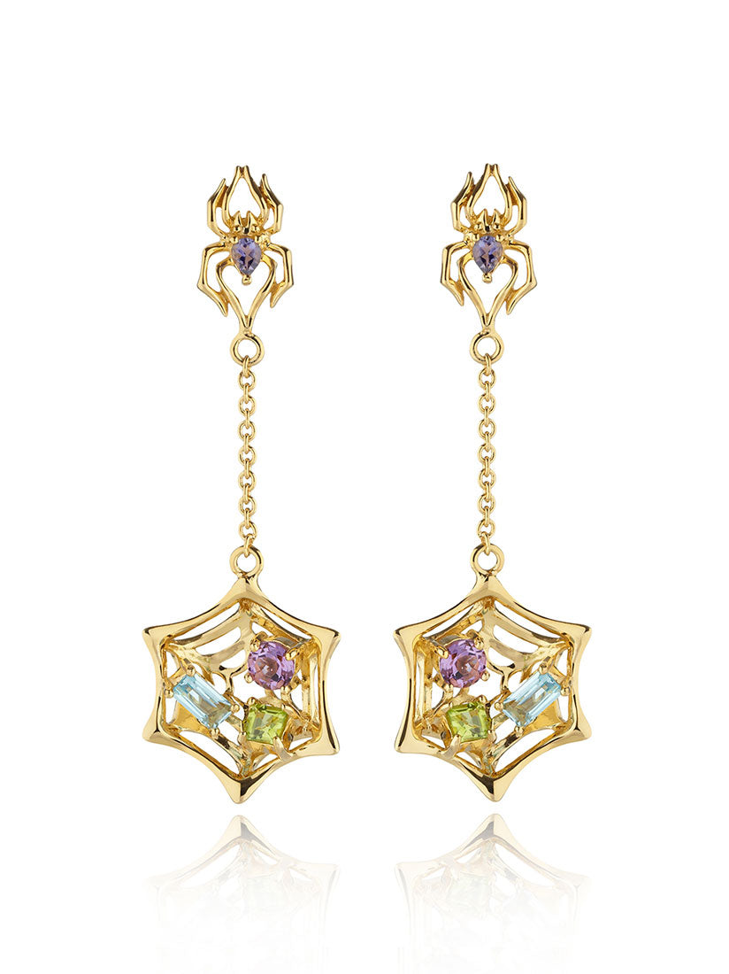 Anansi Gold Earrings With Iolite, Blue Topaz, Amethyst and Peridot