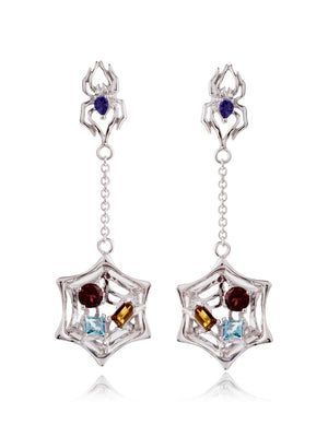 Anansi Rhodium Earrings With Iolite, Blue Topaz, Citrine and Garnet