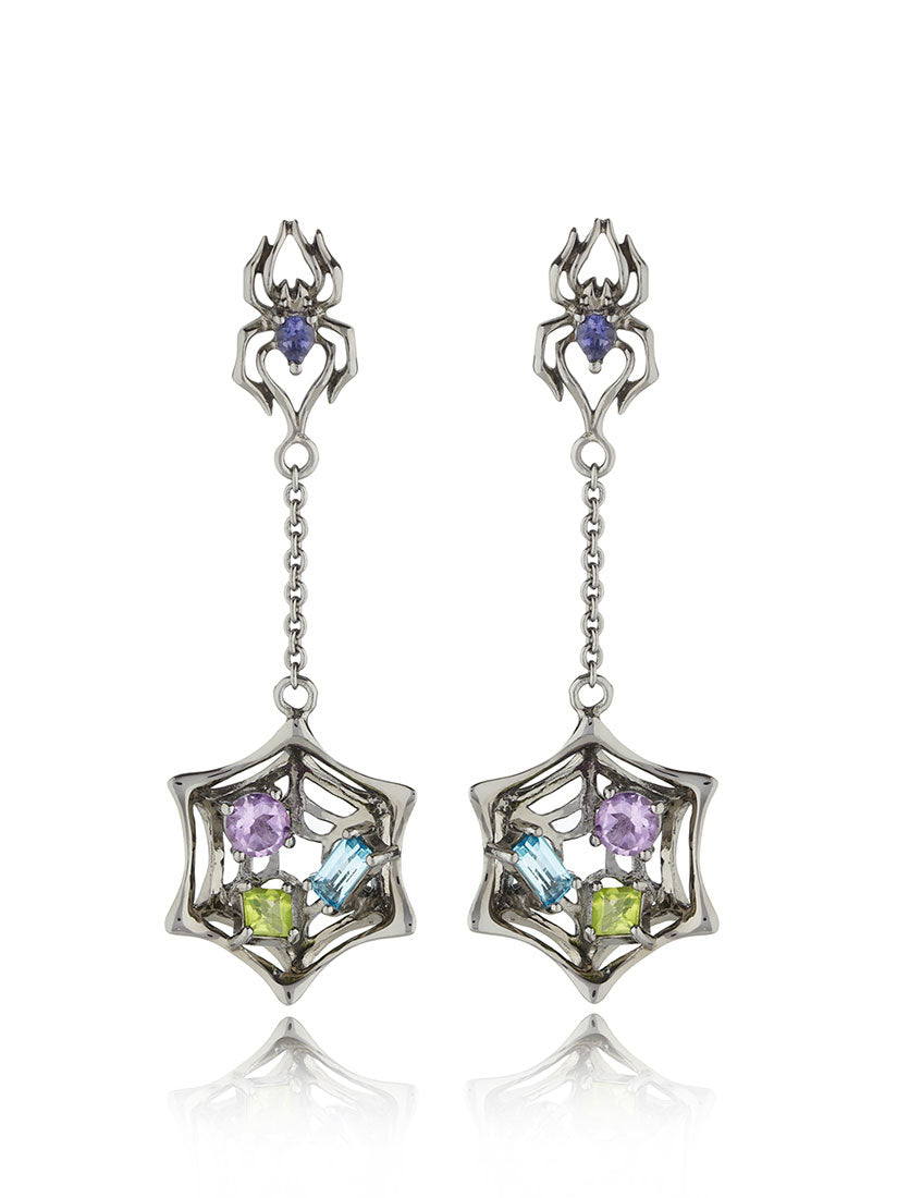 Anansi Ruthenium Earrings With Iolite, Blue Topaz, Amethyst and Peridot