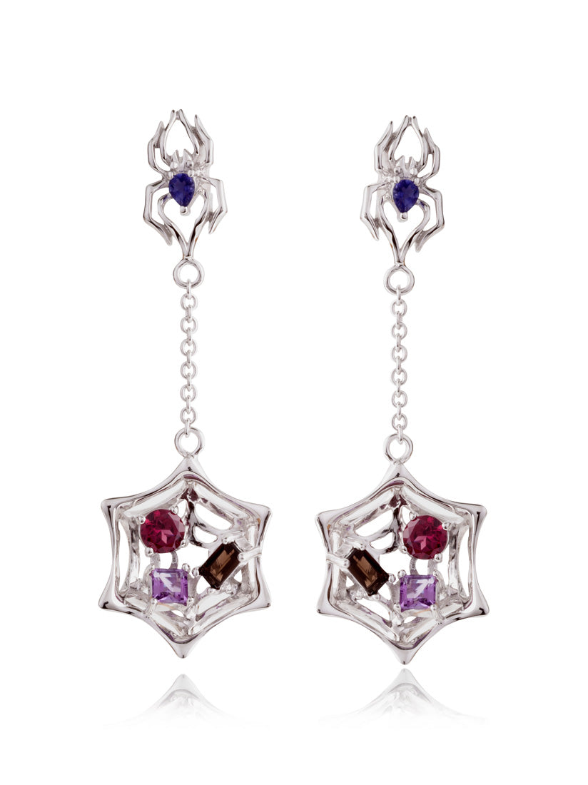 Anansi Ruthenium Earrings With Iolite, Blue Topaz, Citrine and Garnet