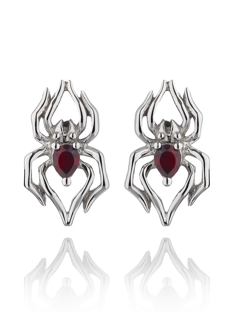 Anansi Mini Silver Earrings With Garnet