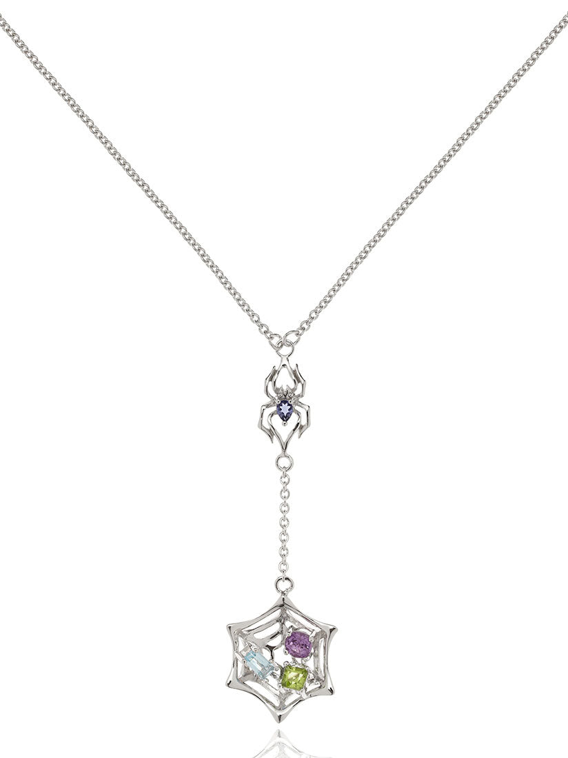 Anansi Rhodium Necklace With Iolite, Blue Topaz, Amethyst and Peridot