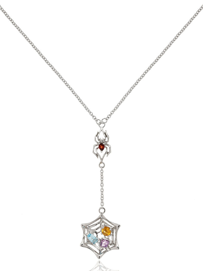 Anansi Rhodium Necklace With Garnet, Blue Topaz, Citrine and Amethyst
