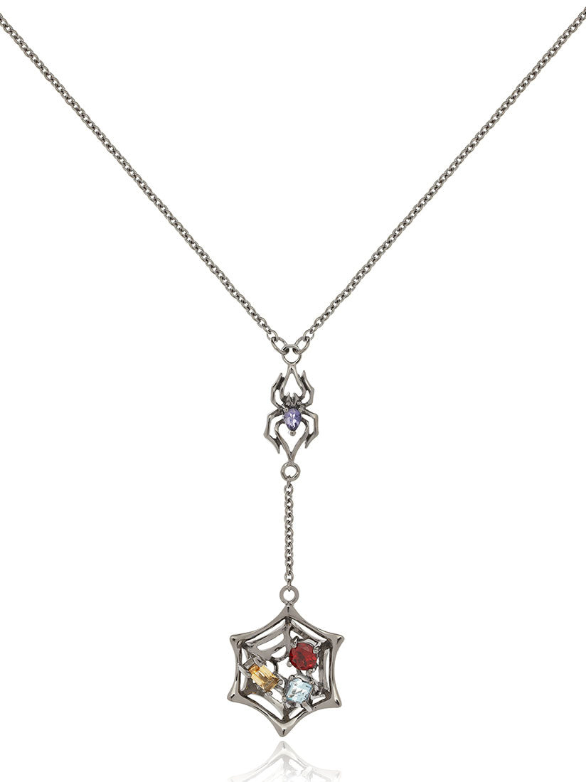Anansi Ruthenium Necklace With Garnet, Blue Topaz, Citrine and Amethyst
