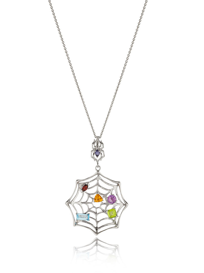 Anansi Rhodium Pendant With Iolite, Garnet, Blue Topaz, Peridot, Amethyst and Citrine