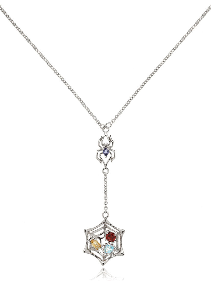 Anansi Rhodium Necklace With Iolite, Blue Topaz, Citrine and Garnet