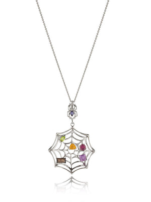 Anansi Rhodium Pendant With Iolite, Rhodolite, Smoky Quartz, Peridot, Amethyst and Citrine