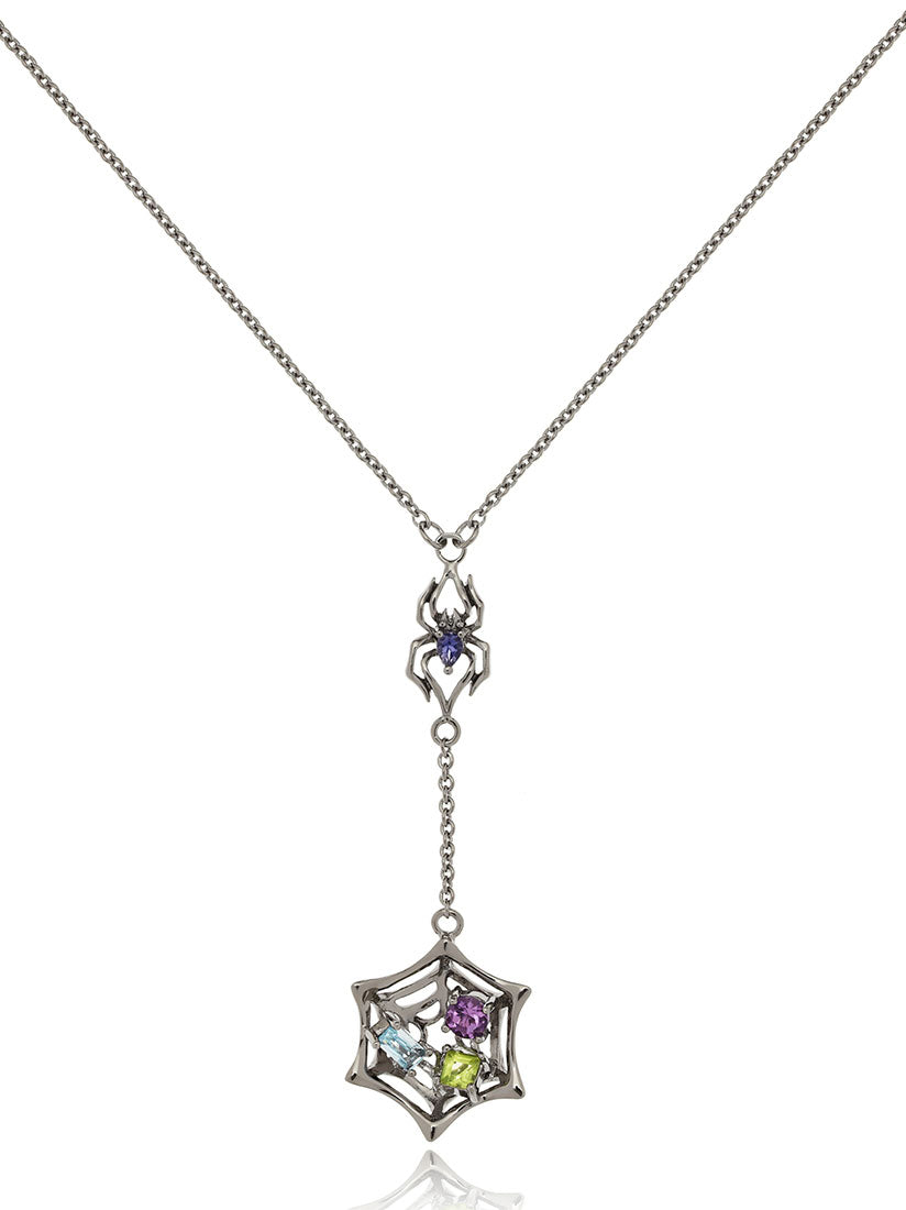 Anansi Ruthenium Necklace With Iolite, Blue Topaz, Amethyst and Peridot