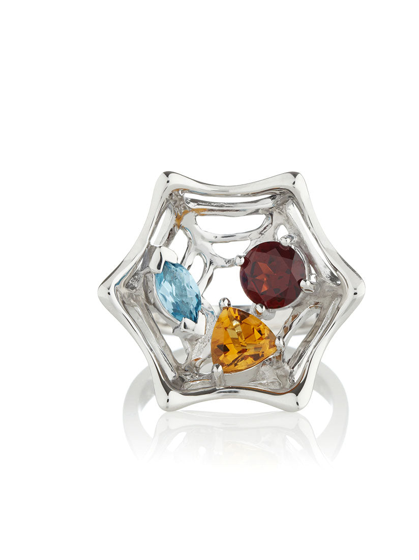Anansi Silver Ring With Garnet, Blue Topaz and Citrine