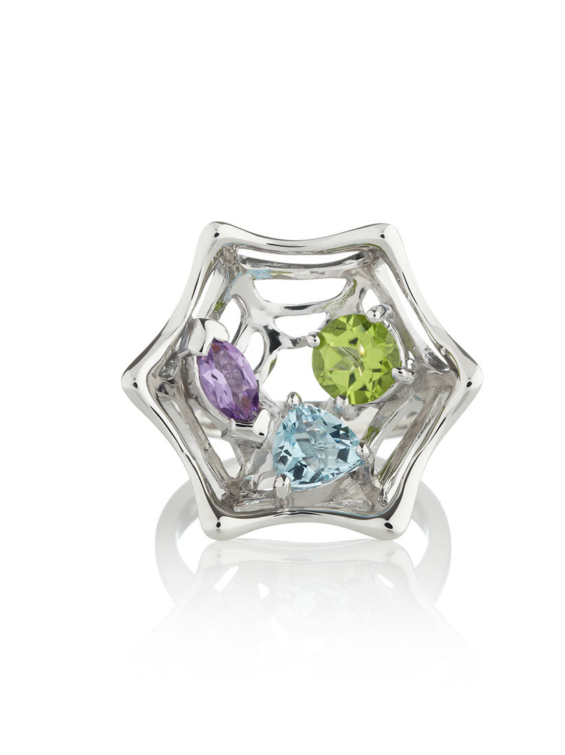 Anansi Silver Ring With Amethyst, Peridot and Blue Topaz